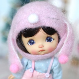 BUNNY ROSE HAT FOR BJD DOLL OB11 STODOLL AMY DOLL LATI WHITE SP PUKIPUKI OBITSU 11 MINI DOLLS