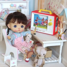 TWO TUNE TV FISHER PRICE 2016 MINIATURE STODOLL OB11 LATI YELLOW PUKIFEE AMYDOLL DIORAMA DOLLHOUSE