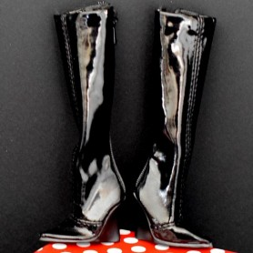 BLACK VINYL BOOTS FOR SYBARITE DOLLS SUPERFROCK SUPERDOLL