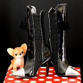 BLACK STILETTO BOOTS FOR SYBARITE DOLLS SUPERFROCK SUPERDOLL
