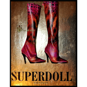 BOTTES STILETTO RED LEOPARD POUR POUPÉE SYBARITE SUPERFROCK SUPERDOLL