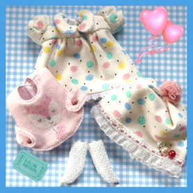DRESS HAT & BIB SET OUTFIT FOR DOLL OB11 STODOLL NENDOROID KKNER AMYDOLL LATI WHITE SP PUKIPUKI OBITSU 11 MINI DOLLS