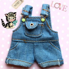 DENIM SPRING OVERALL FOR DOLL OB11 STODOLL KKNER NENDOROID AMYDOLL LATI WHITE SP PUKIPUKI OBITSU 11 MINI DOLLS
