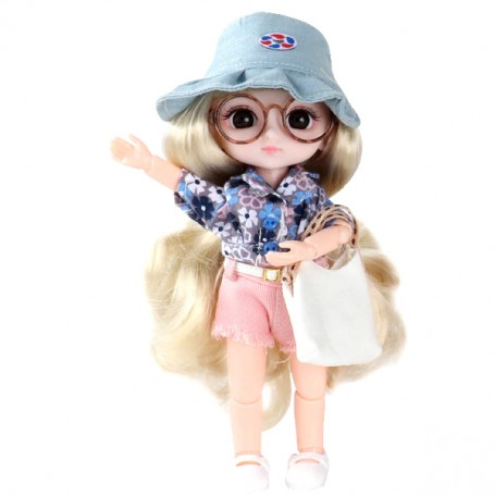 AURELIE DOLL 16 CM FULLY ARTICULATED + OUTFIT + SHOES LATI YELLOW PUKIFEE SIZE