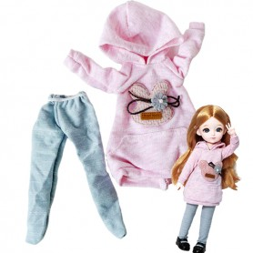 """WEEK END OUTFIT LONG PINK HOODIE SWEATER + LEGGING FOR 30 CM - 12"""" BJD DOLL YOSD"""