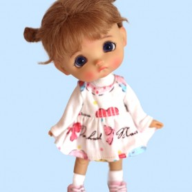 DRESS + TEE SHIRT DOLL OUTFIT SET FOR OB11 STODOLL LATI WHITE SP PUKIPUKI OBITSU 11 CM DOLLS