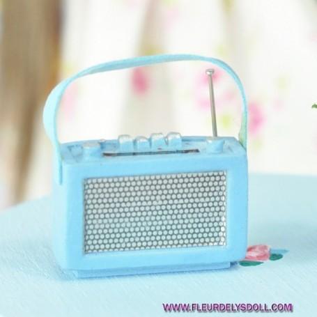 VINTAGE BLUE MINI RADIO MINIATURE BARBIE BJD BLYTHE PULLIP STODOLL OB11 LATI YELLOW PUKIFEE DOLLHOUSE DIORAMA
