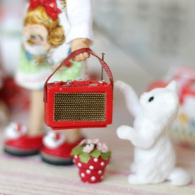 VINTAGE RED MINI RADIO MINIATURE BARBIE BJD BLYTHE PULLIP STODOLL OB11 LATI YELLOW PUKIFEE DOLLHOUSE DIORAMA