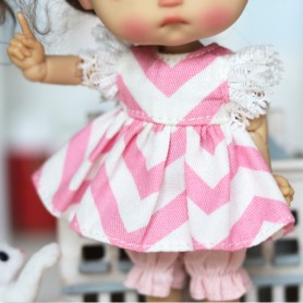 PINK CANDY DRESS + BLOOMER OUTFIT FOR DOLL OB11 STODOLL NENDOROID KKNER AMYDOLL LATI WHITE SP PUKIPUKI OBITSU 11 MINI DOLLS