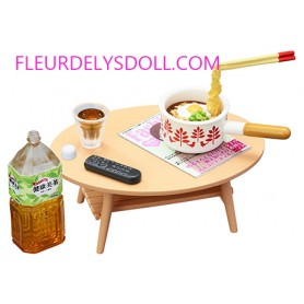 TABLE BASSE + CASSEROLE + REPAS + BOISSON MINIATURE REMENT POUPEE OB11 LATI YELLOW PUKIFEE MIDDIE BLYTHE PULLIP BARBIE DOLL 2018