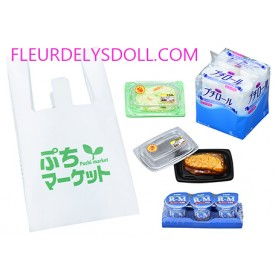 SUPERMAKET BAG + TOILET PAPER ROLLS + 2 PREPARED MEAL TRAYS + 3 YAGURTS DOLL MINIATURE SET ACCESSORIES REMENT RE-MENT 2018