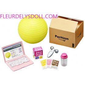 PINK LAPTOP + GYM BALL + MASSAGE DEVICE + ENERGY DRINKS + GRADUATED GLASS SET  MINIATURE ACCESSORIES SET RE-MENT DOLL 2018