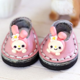 KAWAII MY MELODY MINI REAL LEATHER DOLL SHOES FOR OB11 STODOLL AMY DOLL LATI WHITE SP PUKIPUKI OBITSU 11 MINI DOLLS