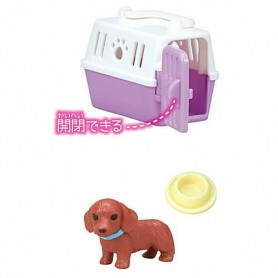 DOG + TRANSPORT CASE + BOWL DOLL MINIATURE BARBIE BJD STODOLL OB11 AMYDOLL LATI YELLOW PUKIFEE BLYTHE PULLIP DOLLHOUSE DIORAMA