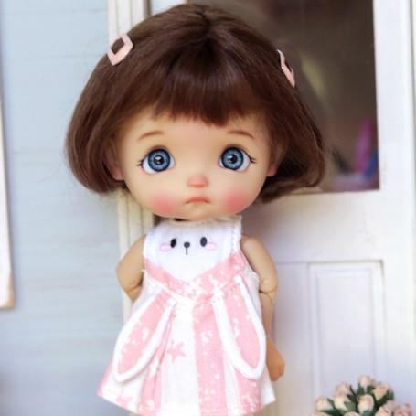 PINK BUNNY DRESS OUTFIT FOR DOLL OB11 STODOLL NENDOROID KKNER AMYDOLL LATI WHITE SP PUKIPUKI OBITSU 11 MINI DOLLS
