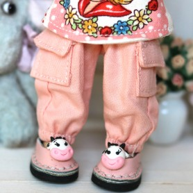 PINK PANTS WITH POCKETS OUTFIT FOR BJD OB11 NENDOROID STODOLL AMY DOLL LATI WHITE SP PUKIPUKI OBITSU 11 CM DOLLS