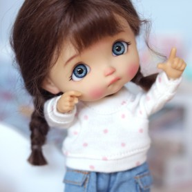 DOTS TEE SHIRT SWEATER OUTFIT FOR OB11 AMYDOLL STODOLL LATI WHITE SP PUKIPUKI OBITSU 11 CM DOLLS