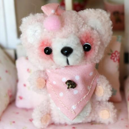 LOVE PINK BEAR CUDDY TOY DOLL MINIATURE BARBIE BJD STODOLL OB11 AMYDOLL LATI YELLOW PUKIFEE BLYTHE PULLIP DOLLHOUSE DIORAMA