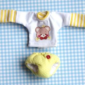 TEE SHIRT AND BABY DIAPER PANTS OUTFIT FOR DOLL OB11 STODOLL NENDOROID KKNER AMYDOLL LATI WHITE SP PUKIPUKI OBITSU 11 MINI DOLLS