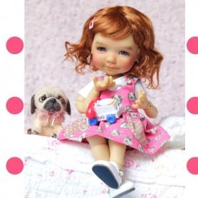 """HELLO KITTY DRESS WITH POCKETS FOR BJD DOLL MEADOWDOLLS DUMPLING SAFFI GIGI TELLA YOSD 12"""" 28 CM 1/6 DOLL"""