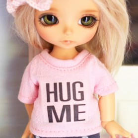 HUG ME TEE SHIRT OUTFIT FOR BJD DOLL MEADOWDOLLS TWINKLES LATI YELLOW PUKIFEE AND OTHER SMALL DOLLS