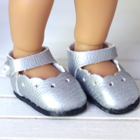 SILVER SHOES FOR BJD DOLL MEADOWDOLLS TWINKLES LATI YELLOW PUKIFEE AND OTHER SMALL DOLLS