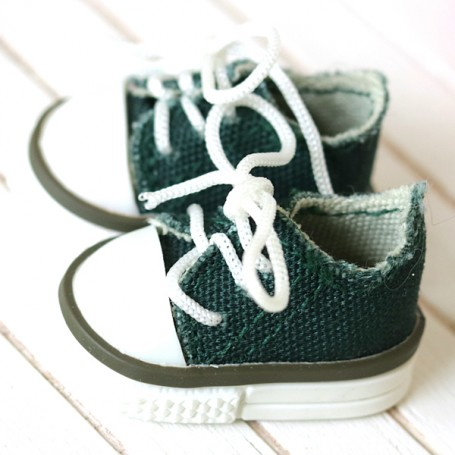 GREEN TENNIS SHOES FOR BJD DOLL MEADOWDOLLS TWINKLES LATI YELLOW PUKIFEE AND OTHER SMALL DOLLS