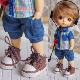 BROWN RUBY RED TENNIS SHOES FOR BJD DOLL MEADOWDOLLS TWINKLES LATI YELLOW PUKIFEE AND OTHER SMALL DOLLS