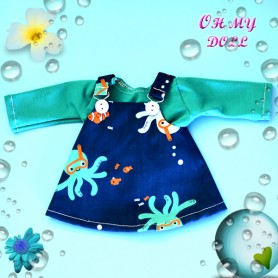SEA DRESS + TEE SHIRT BY OH MY DOLL FOR BJD DOLL MAE AYA MASHA MOPPETS DOLLS FROM MEADOWDOLLS