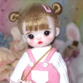 LOVELY PIVOINE PEONY DOLL 16 CM FULLY ARTICULATED + OUTFIT + WIG + SHOES LATI YELLOW SIZE