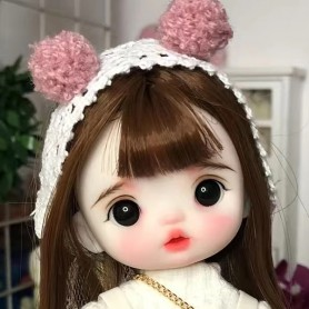 LOVELY POMPON POMPOM DOLL 16 CM FULLY ARTICULATED + OUTFIT + WIG + SHOES LATI YELLOW SIZE