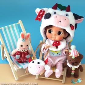 LITTLE BABY COW SET OUTFIT + HAT FOR DOLL OB11 STODOLL NENDOROID KKNER AMYDOLL LATI WHITE SP PUKIPUKI OBITSU 11 MINI DOLLS