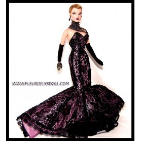 FASHION ROYALTY HAUTE COUTURE COMPLETE OUTFIT + JEWELS FROM VERONIQUE MAUVE ABSOLUE COLLECTION 2003 RARE JASON WU INTEGRITY TOYS