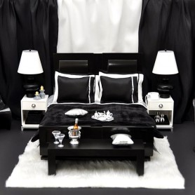 BED + COMPLETE BEDDING SET FASHION ROYALTY DOLL LUXURY MODERN DREAMER BED LOFT COLLECTION 2005 RARE JASON WU INTEGRITY TOYS