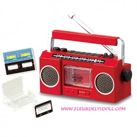 RADIO TAPE PLAYER 1980S DOLL MINIATURE BARBIE BJD FASHION ROYALTY BLYTHE PULLIP DOLLHOUSE DIORAMA