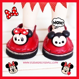MICKEY & MINNIE REAL LEATHER DOLL SHOES FOR OB11 STODOLL AMY DOLL LATI WHITE SP PUKIPUKI OBITSU 11 MINI DOLLS