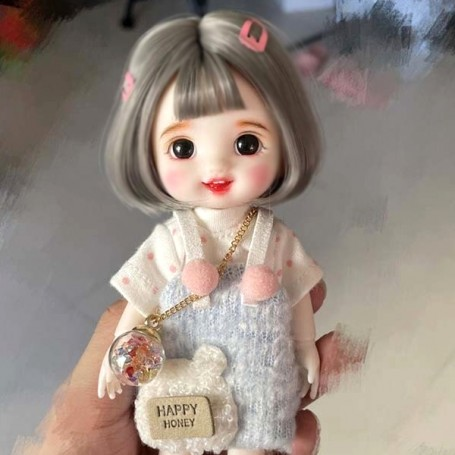 LOVELY HAPPY MISCHIEF DOLL 16 CM FULLY ARTICULATED + OUTFIT + WIG + SHOES LATI YELLOW SIZE