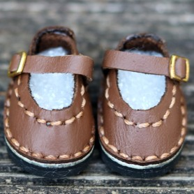 CHAUSSURES MARY JANE ROSE CUIR MARRON POUR POUPÉE BJD DOLL MEADOWDOLLS TWINKLES LATI YELLOW PUKIFEE ...