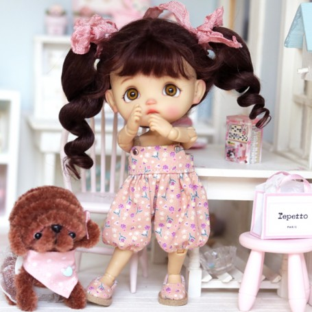PINK OVERALL + SHOES + HAIR PIN OUTFIT FOR DOLL OB11 STODOLL NENDOROID KKNER AMYDOLL LATI WHITE SP PUKIPUKI OBITSU 11 MINI DOLLS
