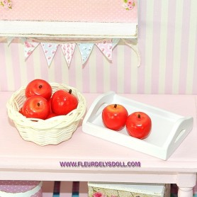 RED APPLE FRUIT MINIATURE BARBIE FASHION ROYALTY BJD MOMOKO BLYTHE PULLIP LATI YELLOW DOLLHOUSE PLAYSCALE 1/6