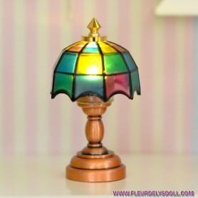 LAMPE LED TIFFANY MINIATURE LATI YELLOW BARBIE FASHION ROYALTY BLYTHE PULLIP DIORAMA DOLLHOUSE 1/6 1/12