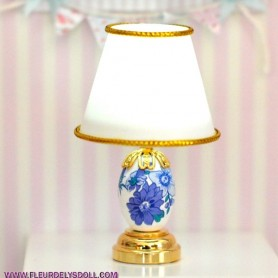MINIATURE LED PORCELAIN LAMP LATI YELLOW BARBIE FASHION ROYALTY BLYTHE PULLIP DOLLHOUSE 1:6 1:12