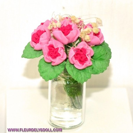 MINIATURE FLOWERS IN A VASE LATI YELLOW DIORAMA DOLLHOUSE 1:12