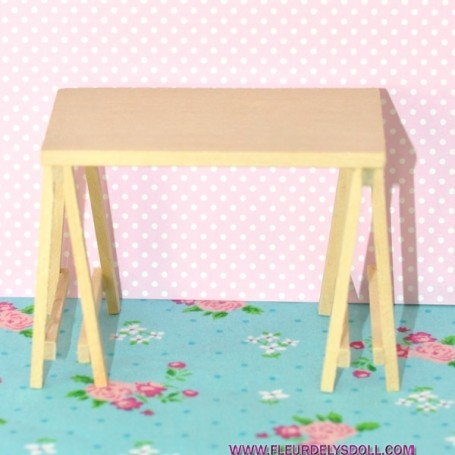 Table Treteau Miniature Lati Yellow Pukifee Maison De Poupee