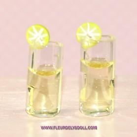 LOT OF 2 LEMON GLASSES MINIATURE DIORAMAS DOLLHOUSE 1:12