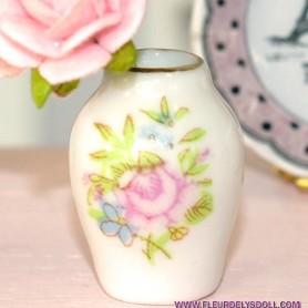 SHABBY CHIC PORCELAIN FLOWERS VASE MINIATURE DIORAMAS DOLLHOUSE 1:12
