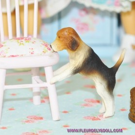 ADORABLE CHIEN BEAGLE MINIATURE BARBIE FASHION ROYALTY LATI YELLOW PUKIFEE BJD BLYTHE PULLIP DOLLHOUSE DIORAMA
