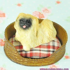 ADORABLE CHIEN PEKINOIS MINIATURE BARBIE FASHION ROYALTY LATI YELLOW PUKIFEE BJD BLYTHE PULLIP DOLLHOUSE DIORAMA