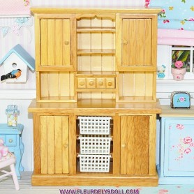 MINIATURE KITCHEN DRESSER PROVENCE LATI YELLOW LATI WHITE SP DOLLHOUSE, DIORAMA FURNITURE 1:12