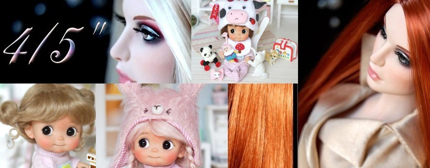 "Wigs size 4/5"" for dolls Sybarite Tonner Ficon BJD ..."